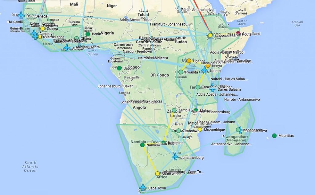 Karte mit der Reiseplanung für Afrika