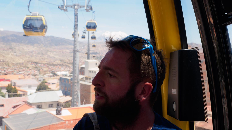 Christian in der Seilbahn von La Paz