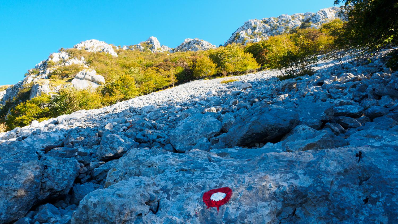 Markierter Weg auf Berg Nanos