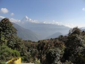 Letzter Blick auf das Tal zum Annapurna Base Camp mit dem Machapucharé