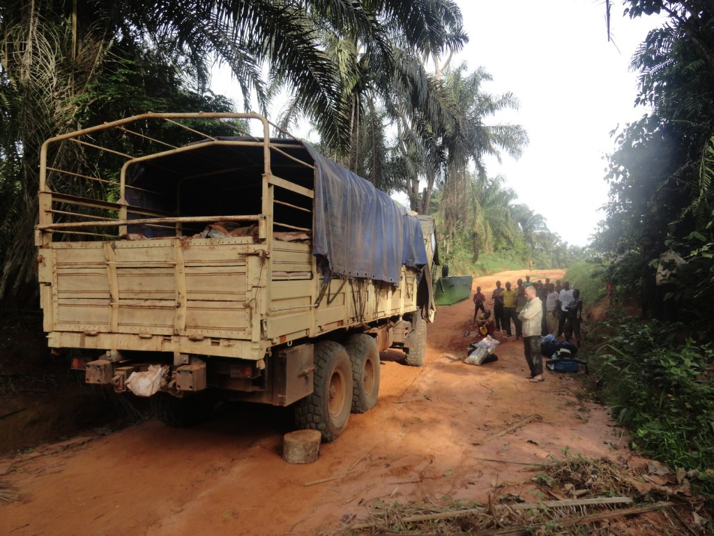 Repairing the truck in the jungle