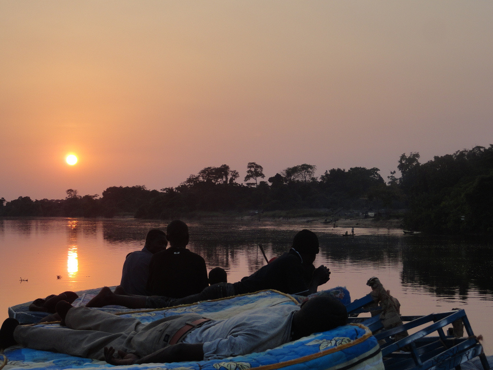 sunset at Congo river