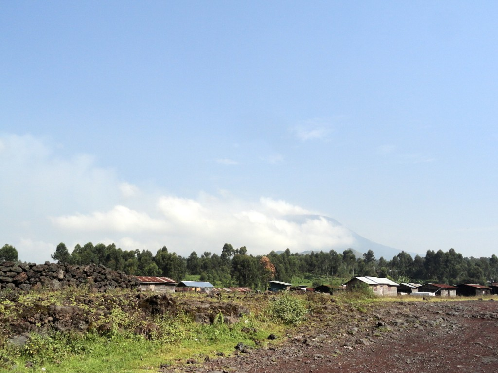 Rocky road outside of Goma - Nyiragongo in the background