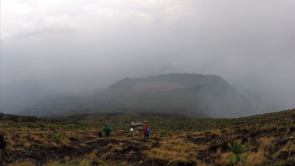 Pouring rain during the climb of the Nyiragongo