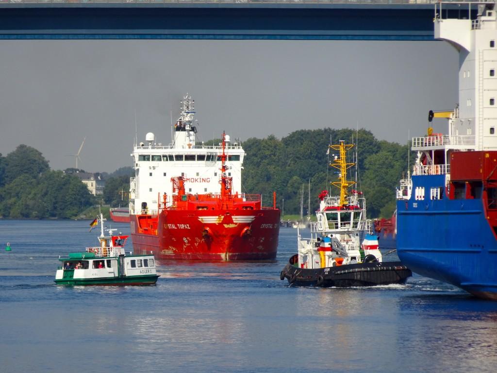 Viel Verkehr auf dem Nord-Ostsee-Kanal