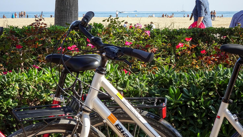 Fahrräder am Strand von Valencia