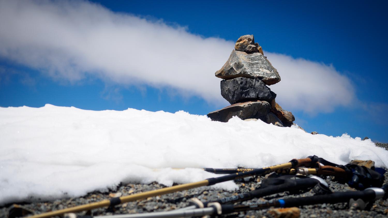Steinfiguren am Gipfel des Parinacota