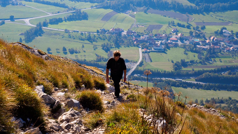 Aufstieg auf Berg Nanos